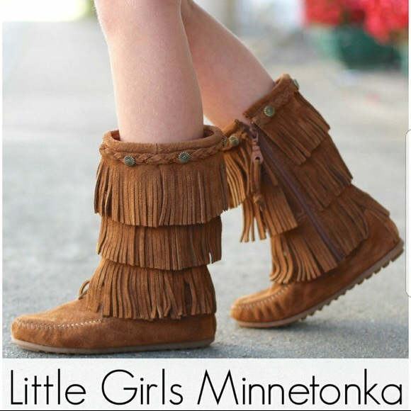 girls brown fringe boots